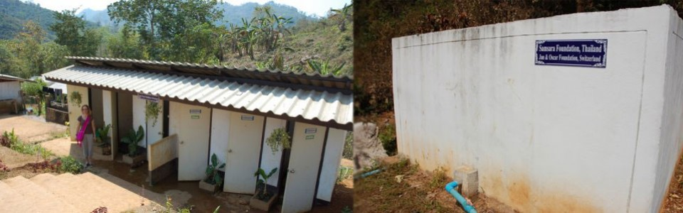 Toilets and water tank in Long Phe Wittaya